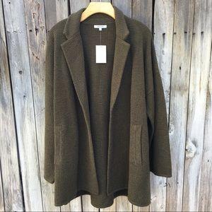 NWT Madewell Laguna Stitch Sweater Coat Green XL